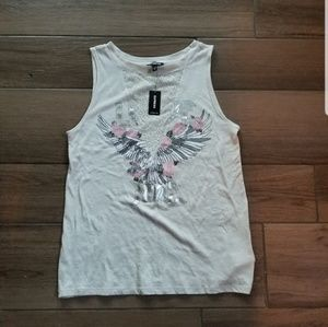 Express cream lace eagle band muscle tee tank M